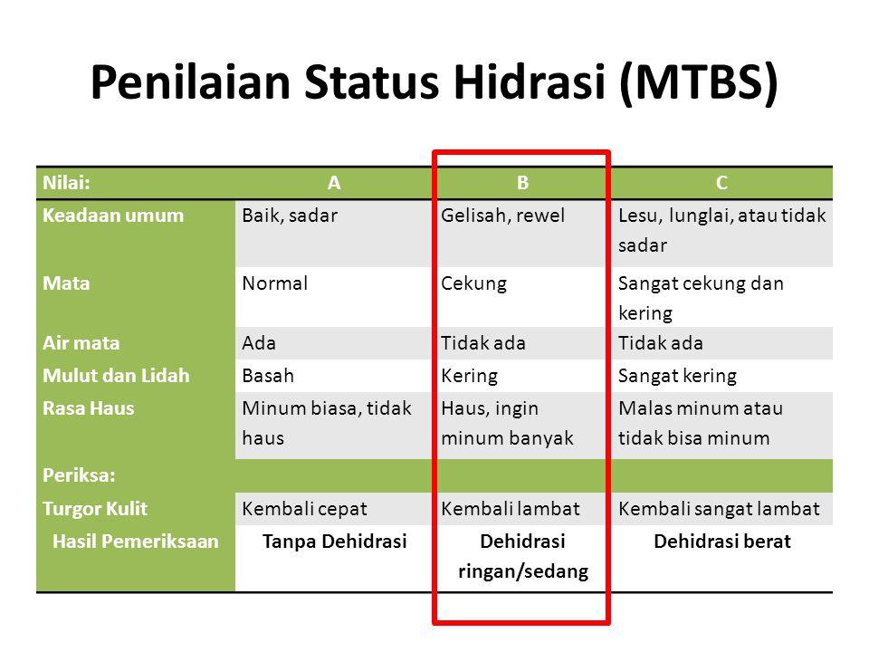 Penilaian Status Hidrasi (MTBS) Nilai:ABC Keadaan umumBaik, sadarGelisah, rewel Lesu, lunglai, atau tidak sadar MataNormalCekung Sangat cekung dan ker
