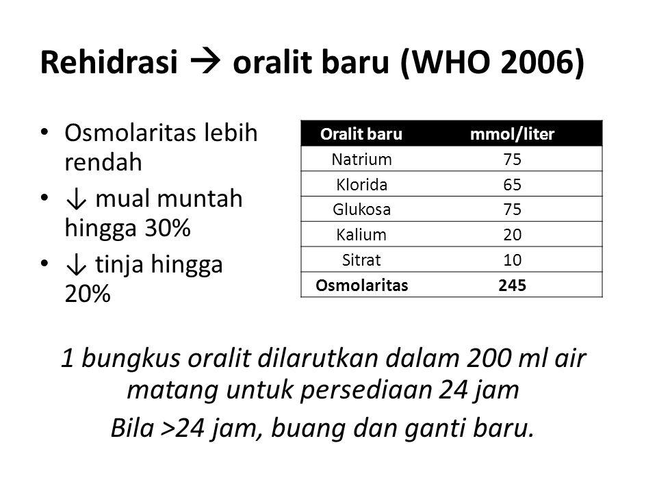 Rehidrasi  oralit baru (WHO 2006) Osmolaritas lebih rendah ↓ mual muntah hingga 30% ↓ tinja hingga 20% Oralit barummol/liter Natrium75 Klorida65 Gluk