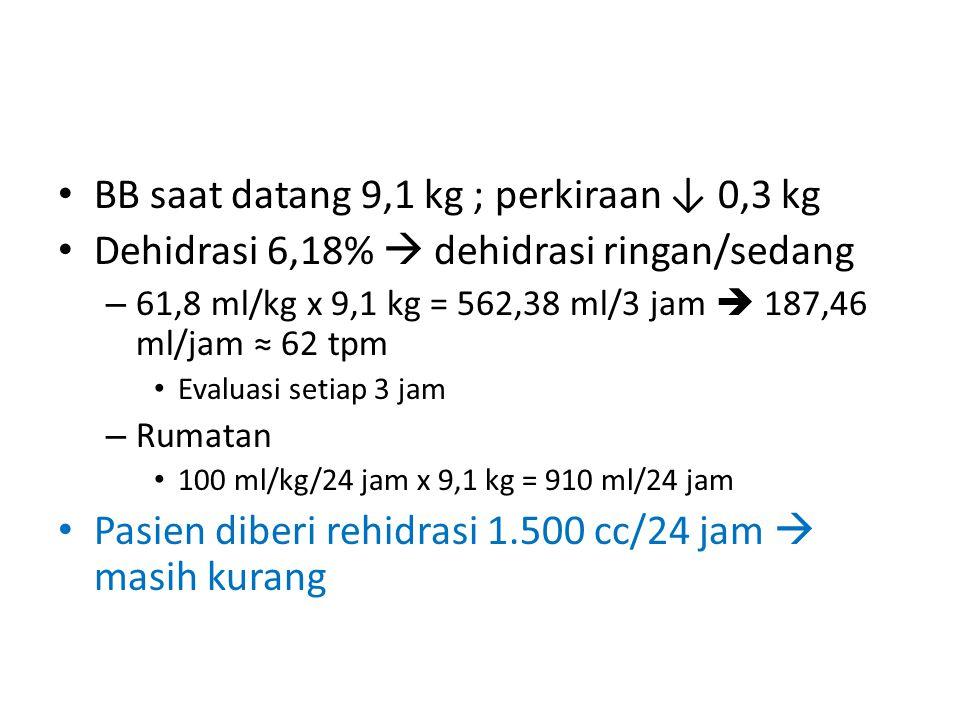 BB saat datang 9,1 kg ; perkiraan ↓ 0,3 kg Dehidrasi 6,18%  dehidrasi ringan/sedang – 61,8 ml/kg x 9,1 kg = 562,38 ml/3 jam  187,46 ml/jam ≈ 62 tpm