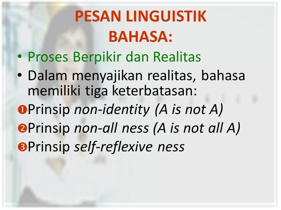 PESAN LINGUISTIK BAHASA: Proses Berpikir dan Realitas Dalam menyajikan realitas, bahasa memiliki tiga keterbatasan:  Prinsip non-identity (A is not A)  Prinsip non-all ness (A is not all A)  Prinsip self-reflexive ness