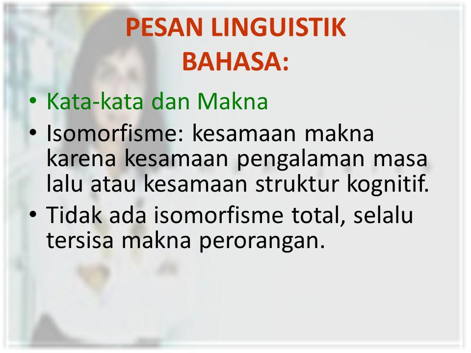 PESAN LINGUISTIK BAHASA: Kata-kata dan Makna Isomorfisme: kesamaan makna karena kesamaan pengalaman masa lalu atau kesamaan struktur kognitif.