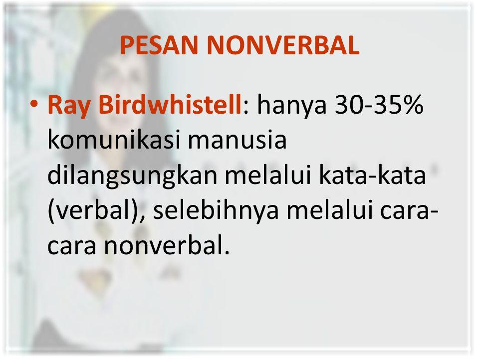 PESAN NONVERBAL Ray Birdwhistell: hanya 30-35% komunikasi manusia dilangsungkan melalui kata-kata (verbal), selebihnya melalui cara- cara nonverbal.