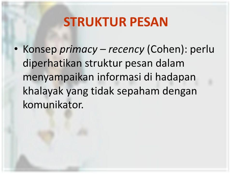 STRUKTUR PESAN Konsep primacy – recency (Cohen): perlu diperhatikan struktur pesan dalam menyampaikan informasi di hadapan khalayak yang tidak sepaham dengan komunikator.