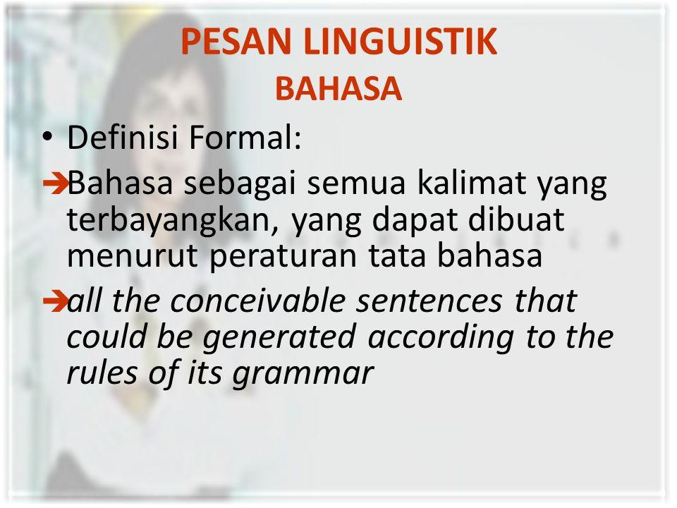 PESAN LINGUISTIK BAHASA Tata Bahasa meliputi tiga unsur:  fonologi,  sintaksis, dan  semantik.