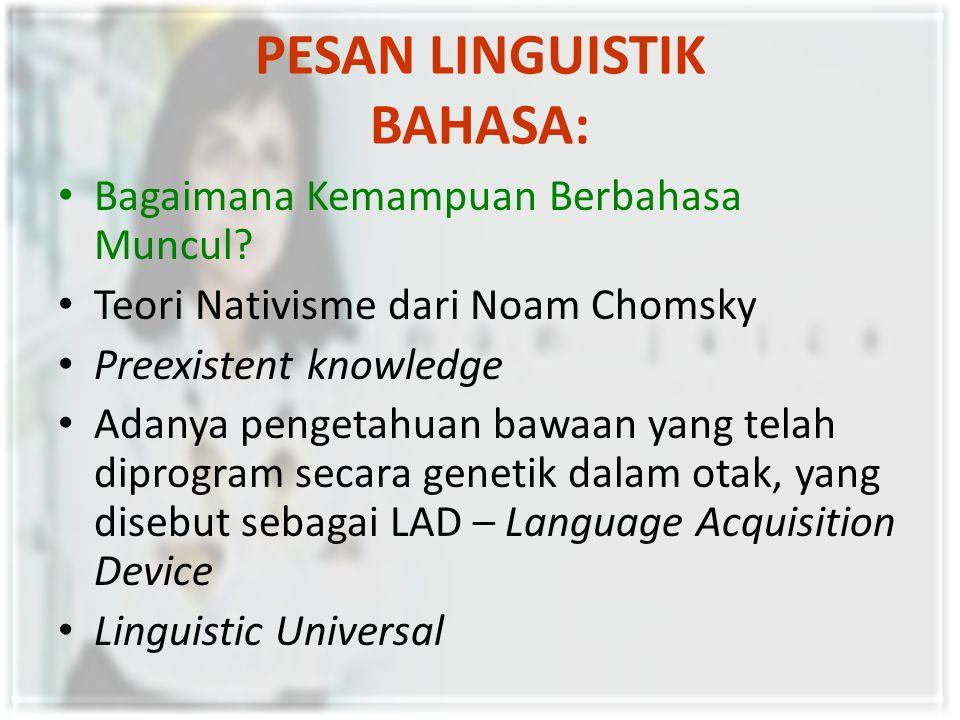PESAN LINGUISTIK BAHASA: Proses Berpikir dan Realitas Principle of Linguistic Relativity: bahasa menyebabkan kita memandang realitas sosial dengan cara tertentu.