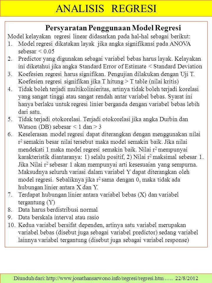ANALISIS REGRESI Diunduh dari: http://www.jonathansarwono.info/regresi/regresi.htm ….. 22/8/2012 Persyaratan Penggunaan Model Regresi Model kelayakan