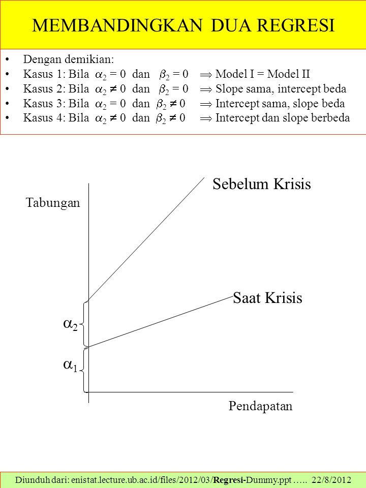 MEMBANDINGKAN DUA REGRESI Dengan demikian: Kasus 1: Bila  2 = 0 dan  2 = 0  Model I = Model II Kasus 2: Bila  2  0 dan  2 = 0  Slope sama, inte