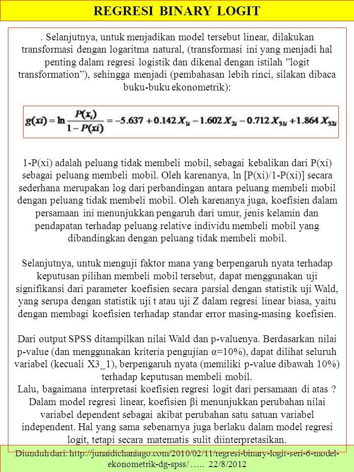 REGRESI BINARY LOGIT Diunduh dari: http://junaidichaniago.com/2010/02/11/regresi-binary-logit-seri-6-model- ekonometrik-dg-spss/ ….. 22/8/2012. Selanj