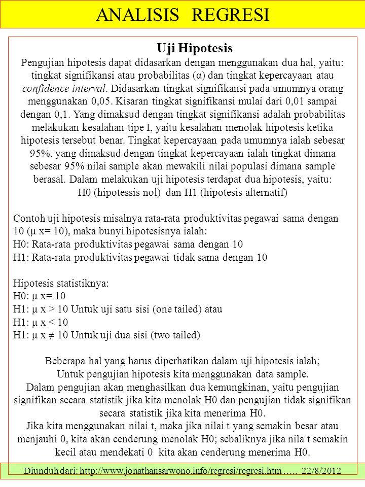 ANALISIS REGRESI Diunduh dari: http://www.jonathansarwono.info/regresi/regresi.htm ….. 22/8/2012 Uji Hipotesis Pengujian hipotesis dapat didasarkan de