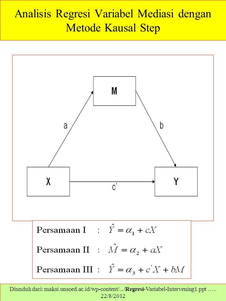 Analisis Regresi Variabel Mediasi dengan Metode Kausal Step Diunduh dari: maksi.unsoed.ac.id/wp-content/.../Regresi-Variabel-Intervening1.ppt ….. 22/8