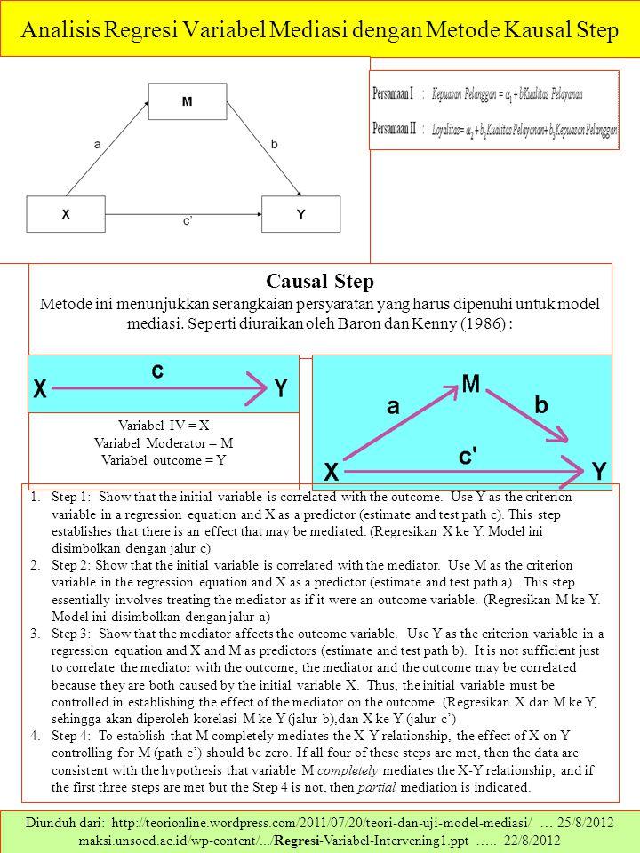 Analisis Regresi Variabel Mediasi dengan Metode Kausal Step Diunduh dari: http://teorionline.wordpress.com/2011/07/20/teori-dan-uji-model-mediasi/ … 2
