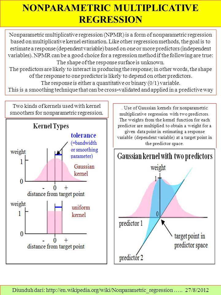 NONPARAMETRIC MULTIPLICATIVE REGRESSION Diunduh dari: http://en.wikipedia.org/wiki/Nonparametric_regression ….. 27/8/2012 Nonparametric multiplicative