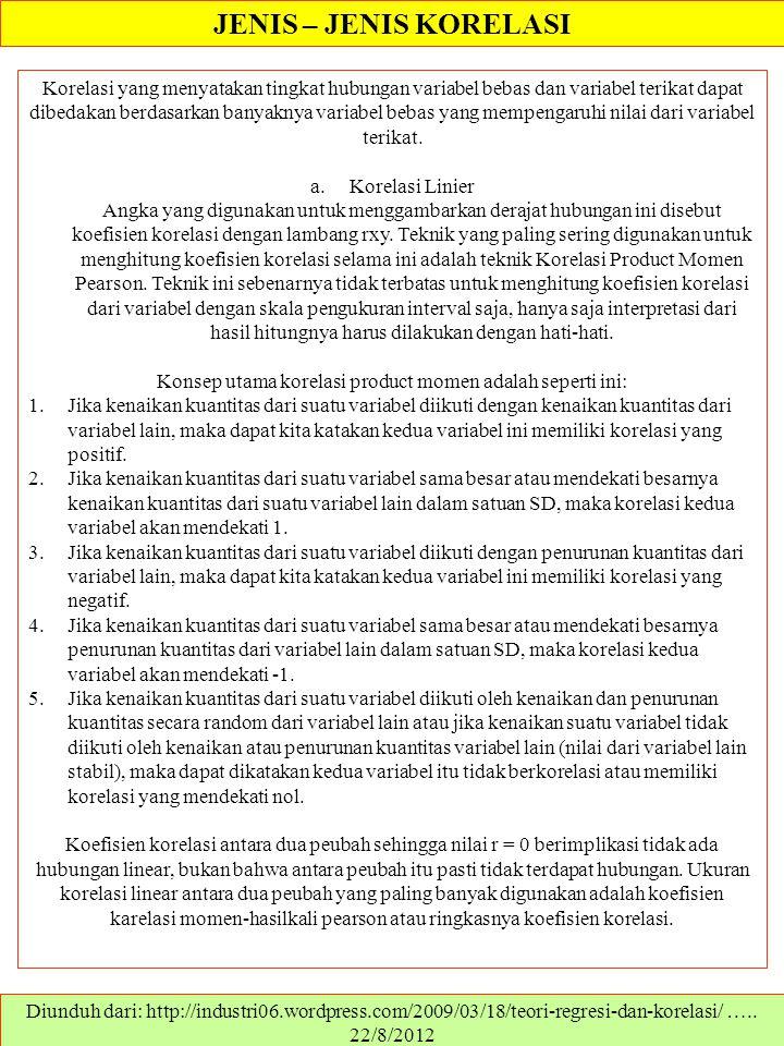 JENIS – JENIS KORELASI Diunduh dari: ….. 22/8/2012 Korelasi yang menyatakan tingkat hubungan variabel bebas dan variabel terikat dapat dibedakan berda