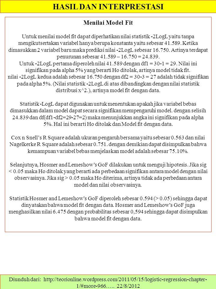 HASIL DAN INTERPRESTASI Diunduh dari: http://teorionline.wordpress.com/2011/05/15/logistic-regression-chapter- 1/#more-966….. 22/8/2012 Menilai Model
