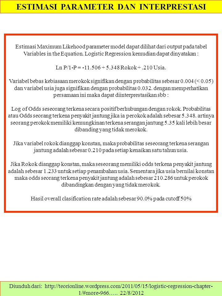 ESTIMASI PARAMETER DAN INTERPRESTASI Diunduh dari: http://teorionline.wordpress.com/2011/05/15/logistic-regression-chapter- 1/#more-966….. 22/8/2012 E
