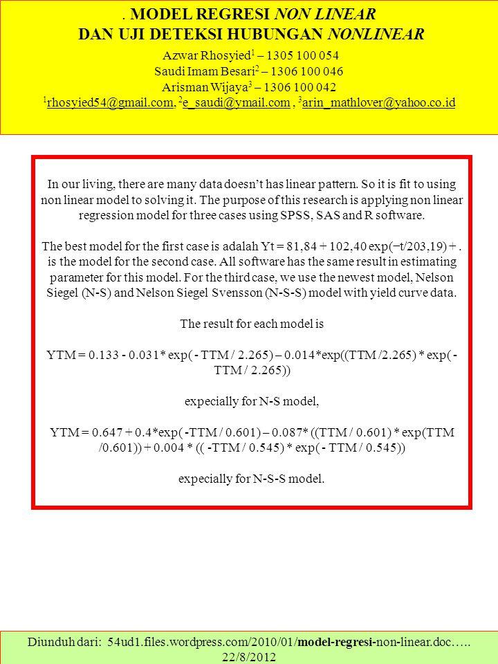 . MODEL REGRESI NON LINEAR DAN UJI DETEKSI HUBUNGAN NONLINEAR Azwar Rhosyied 1 – 1305 100 054 Saudi Imam Besari 2 – 1306 100 046 Arisman Wijaya 3 – 13