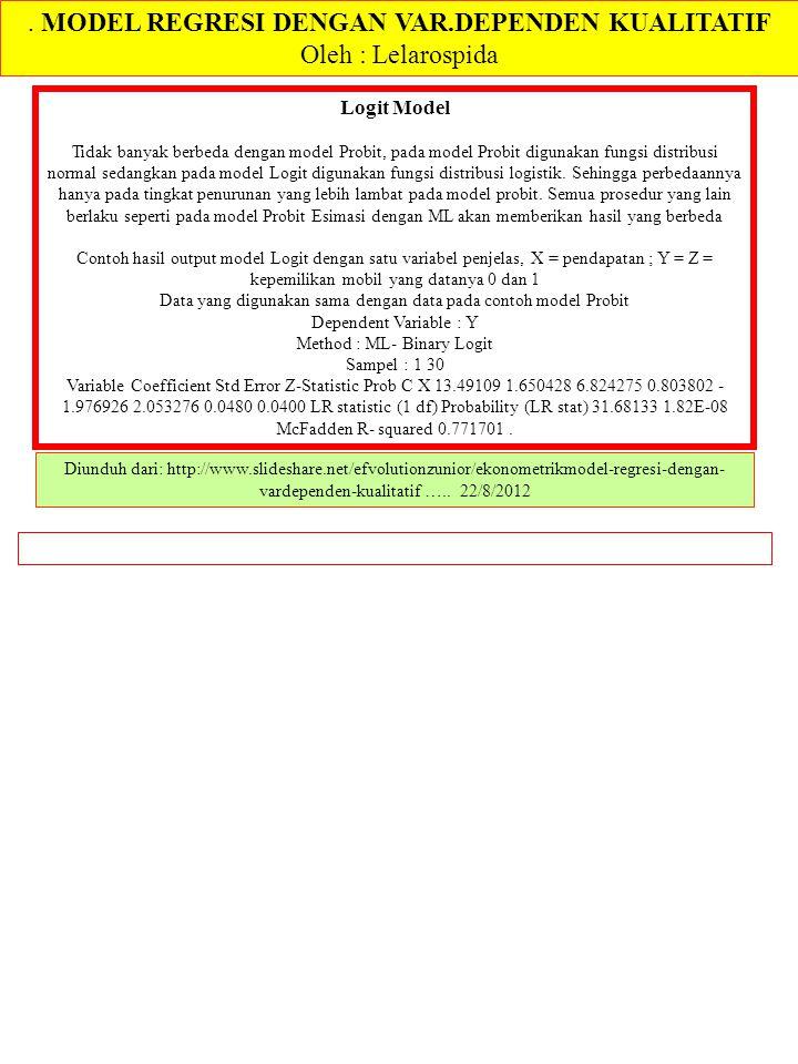 . MODEL REGRESI DENGAN VAR.DEPENDEN KUALITATIF Oleh : Lelarospida Diunduh dari: http://www.slideshare.net/efvolutionzunior/ekonometrikmodel-regresi-de