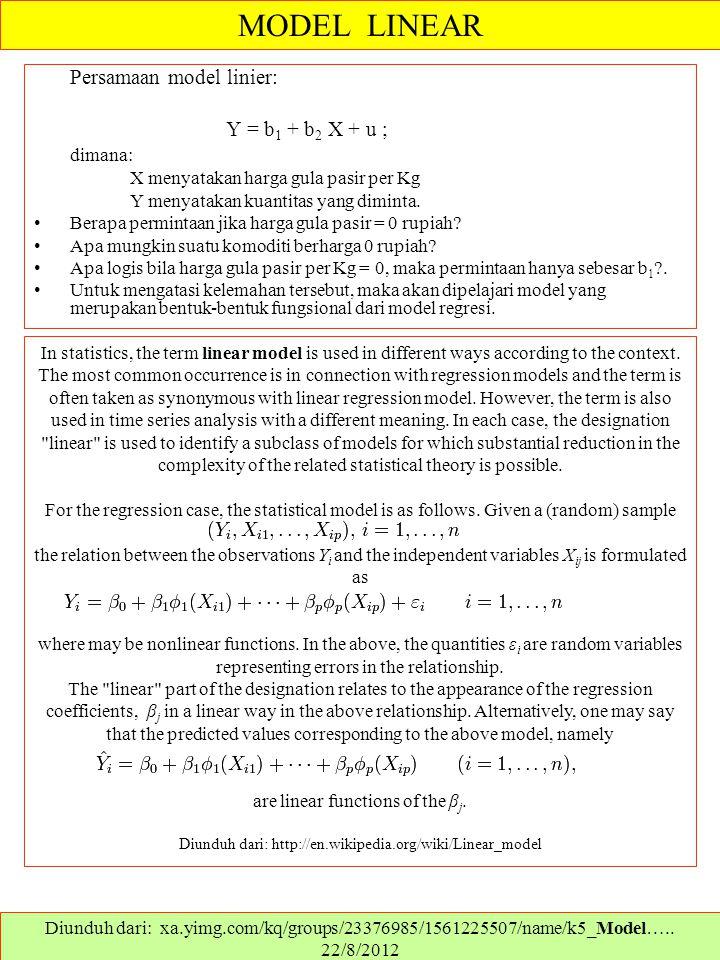 Persamaan model linier: Y = b 1 + b 2 X + u ; dimana: X menyatakan harga gula pasir per Kg Y menyatakan kuantitas yang diminta. Berapa permintaan jika