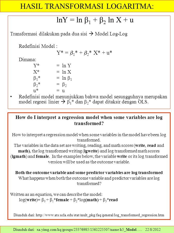 lnY = ln  1 +  2 ln X + u Transformasi dilakukan pada dua sisi  Model Log-Log Redefinisi Model : Y* =  1 * +  2 * X* + u* Dimana: Y*= ln Y X*= ln
