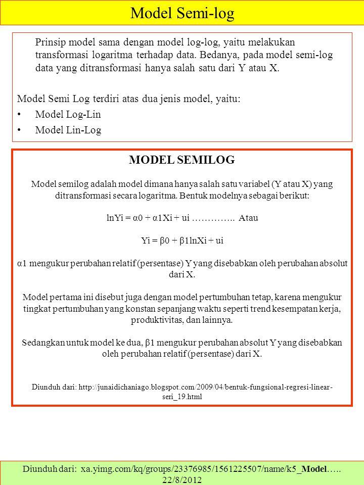 Prinsip model sama dengan model log-log, yaitu melakukan transformasi logaritma terhadap data. Bedanya, pada model semi-log data yang ditransformasi h