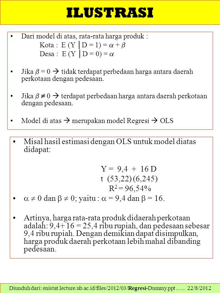 ILUSTRASI Dari model di atas, rata-rata harga produk : Kota : E (Y  D = 1) =  +  Desa : E (Y  D = 0) =  Jika  = 0  tidak terdapat perbedaan har