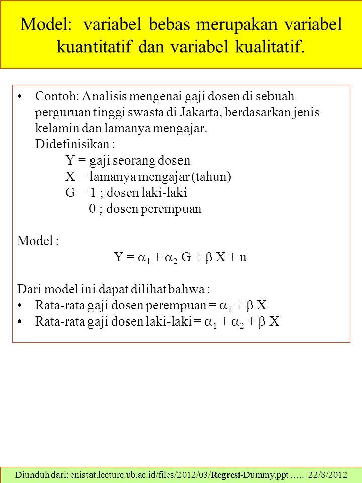 Model: variabel bebas merupakan variabel kuantitatif dan variabel kualitatif. Contoh: Analisis mengenai gaji dosen di sebuah perguruan tinggi swasta d