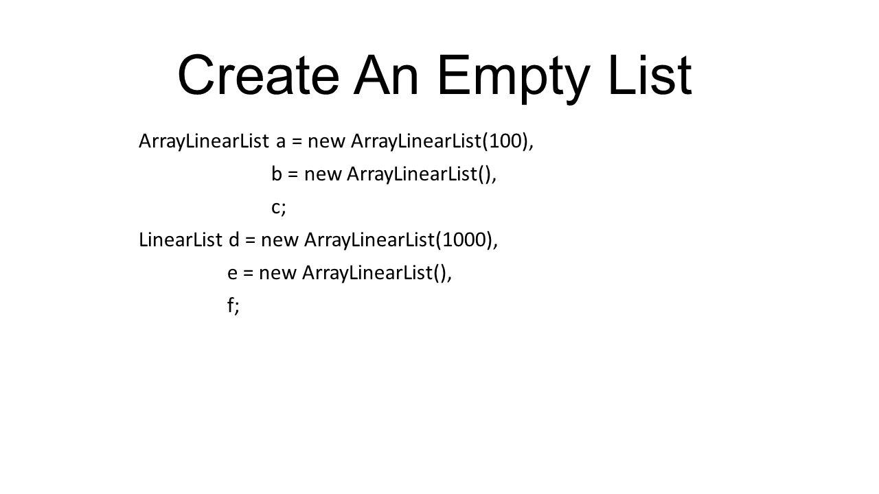 Class ArrayLinearList Merupakan hasil implements dari interface LinearList.