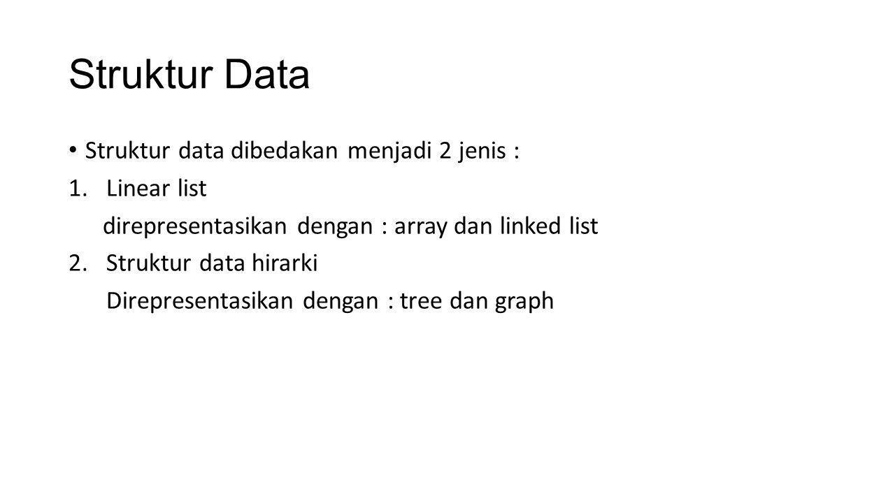Struktur Data Struktur data terdiri dari obyek data dan operasi-operasi.