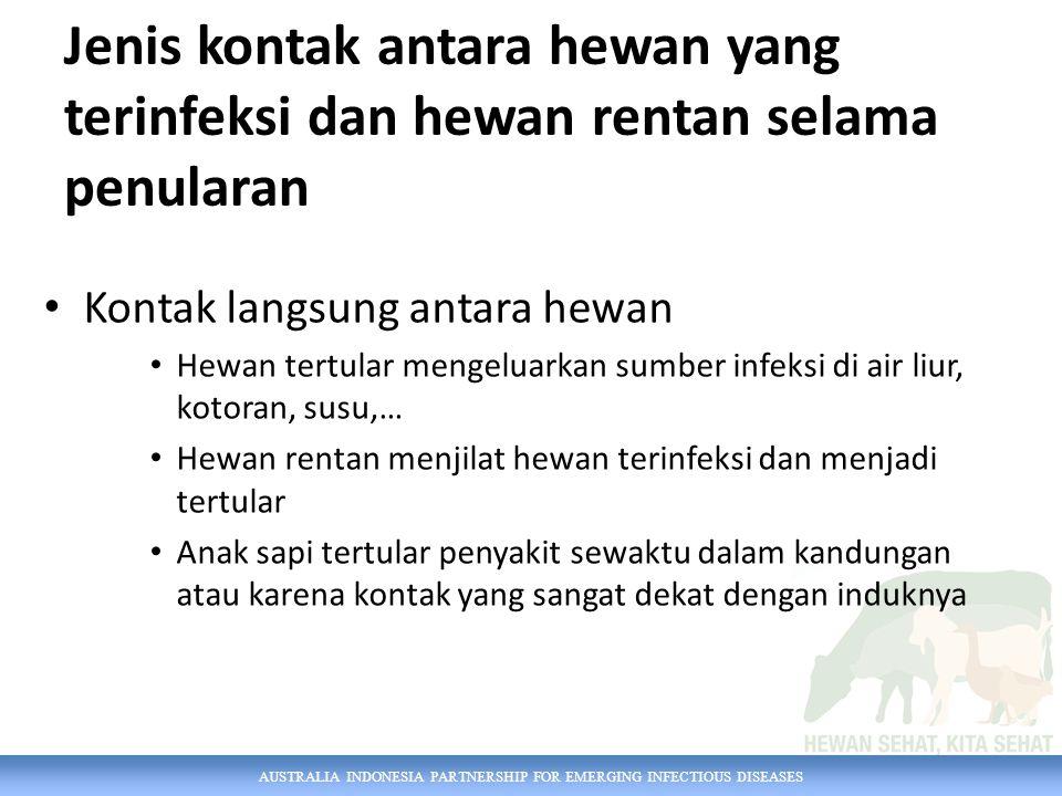 AUSTRALIA INDONESIA PARTNERSHIP FOR EMERGING INFECTIOUS DISEASES Jenis kontak antara hewan yang terinfeksi dan hewan rentan selama penularan Kontak la