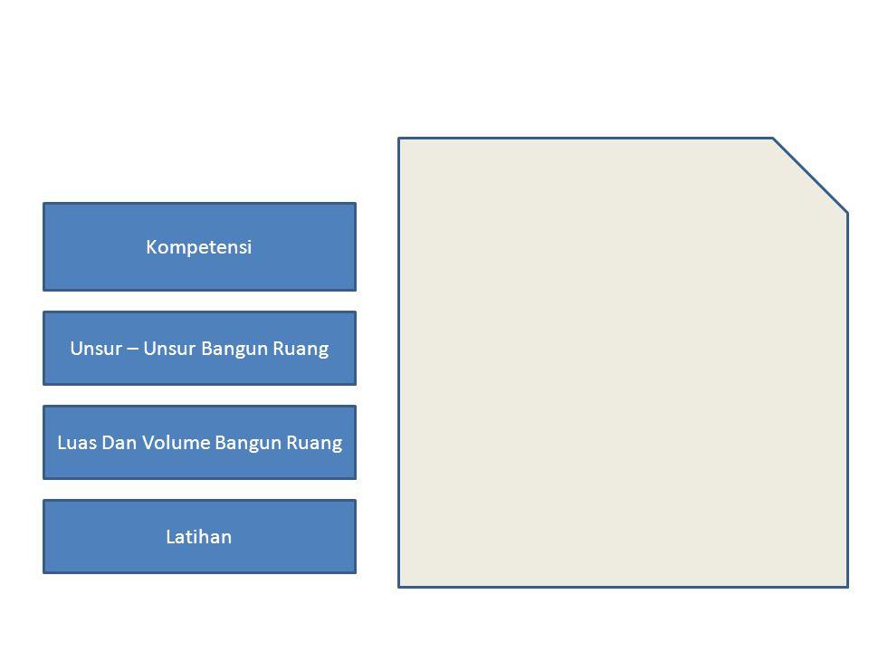 Kompetensi Unsur – Unsur Bangun Ruang Luas Dan Volume Bangun Ruang Latihan Kompetensi 2.1 Mengidentifikasi unsur- unsur tabung, kerucut dan bola.