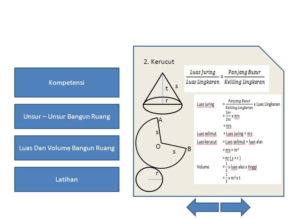 Kompetensi Unsur – Unsur Bangun Ruang Luas Dan Volume Bangun Ruang Latihan 2. Kerucut A B O s s r s r t