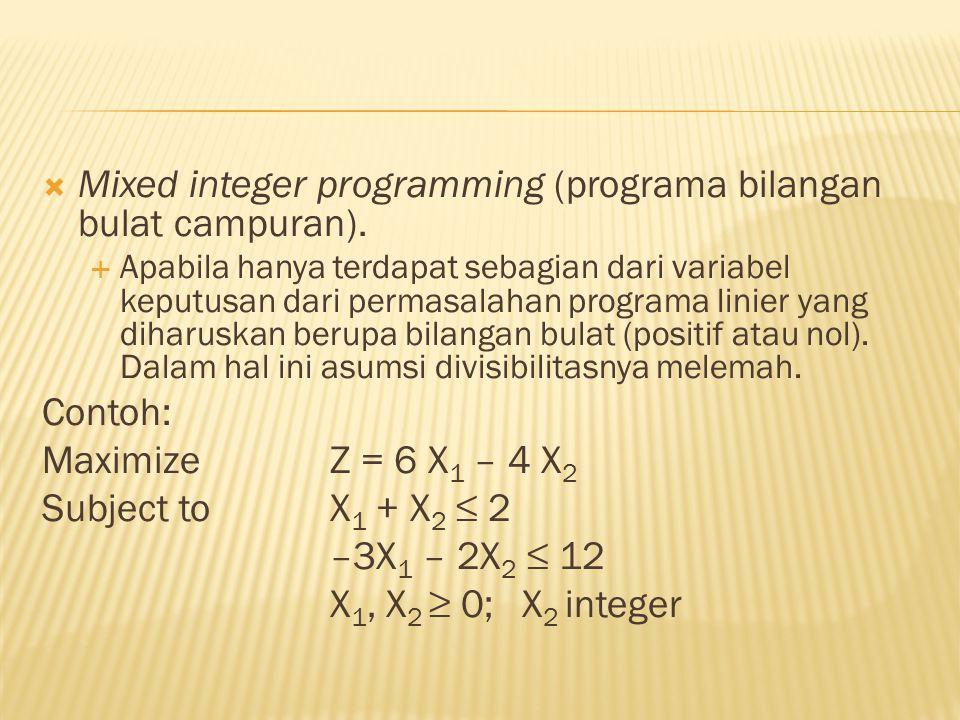  Zero one integer programming (pograma bilangan bulat nol-satu  Apabila variabel keputusannya diharuskan berharga 0 (nol) atau 1 (satu).