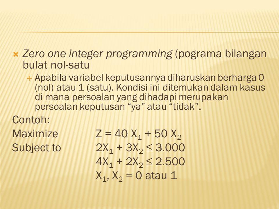  Zero one integer programming (pograma bilangan bulat nol-satu  Apabila variabel keputusannya diharuskan berharga 0 (nol) atau 1 (satu). Kondisi ini