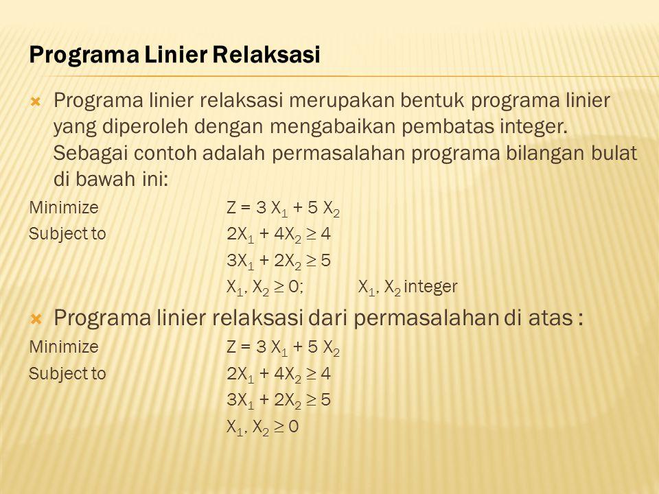 Programa Linier Relaksasi  Programa linier relaksasi merupakan bentuk programa linier yang diperoleh dengan mengabaikan pembatas integer. Sebagai con