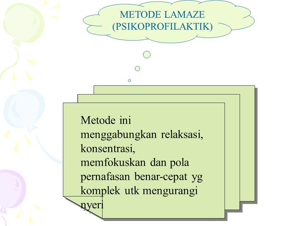 METODE LAMAZE (PSIKOPROFILAKTIK) Metode ini menggabungkan relaksasi, konsentrasi, memfokuskan dan pola pernafasan benar-cepat yg komplek utk mengurang
