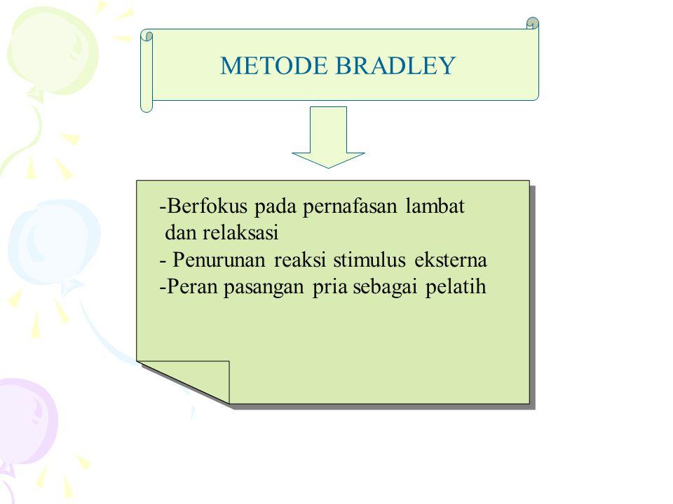 METODE BRADLEY -Berfokus pada pernafasan lambat dan relaksasi - Penurunan reaksi stimulus eksterna -Peran pasangan pria sebagai pelatih -Berfokus pada