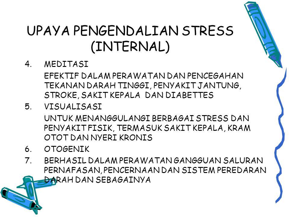 UPAYA PENGENDALIAN STRESS (INTERNAL) 4.MEDITASI EFEKTIF DALAM PERAWATAN DAN PENCEGAHAN TEKANAN DARAH TINGGI, PENYAKIT JANTUNG, STROKE, SAKIT KEPALA DAN DIABETTES 5.VISUALISASI UNTUK MENANGGULANGI BERBAGAI STRESS DAN PENYAKIT FISIK, TERMASUK SAKIT KEPALA, KRAM OTOT DAN NYERI KRONIS 6.OTOGENIK 7.BERHASIL DALAM PERAWATAN GANGGUAN SALURAN PERNAFASAN, PENCERNAAN DAN SISTEM PEREDARAN DARAH DAN SEBAGAINYA
