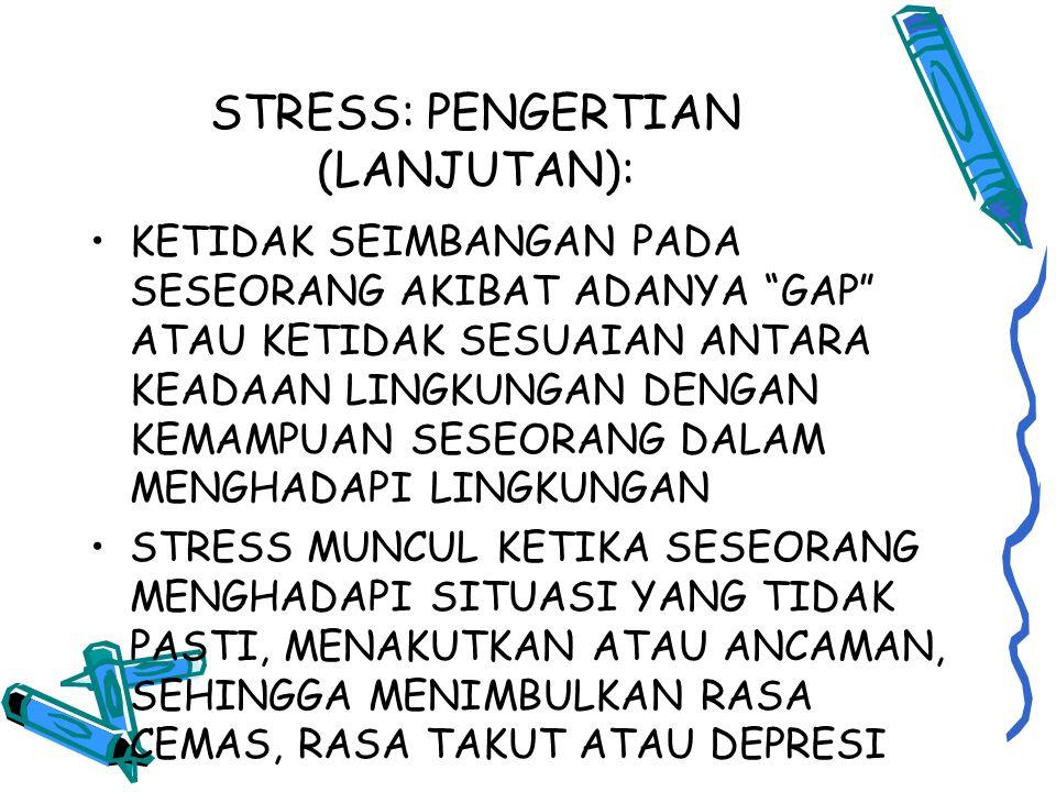 STRESS: PENGERTIAN (LANJUTAN): KETIDAK SEIMBANGAN PADA SESEORANG AKIBAT ADANYA GAP ATAU KETIDAK SESUAIAN ANTARA KEADAAN LINGKUNGAN DENGAN KEMAMPUAN SESEORANG DALAM MENGHADAPI LINGKUNGAN STRESS MUNCUL KETIKA SESEORANG MENGHADAPI SITUASI YANG TIDAK PASTI, MENAKUTKAN ATAU ANCAMAN, SEHINGGA MENIMBULKAN RASA CEMAS, RASA TAKUT ATAU DEPRESI