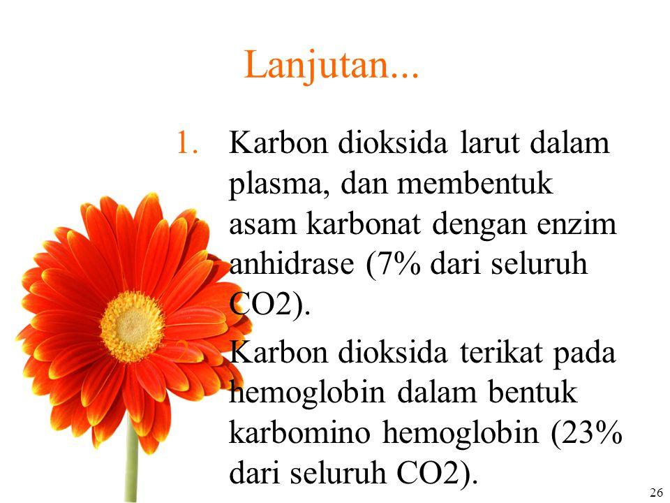 Lanjutan... 1.Karbon dioksida larut dalam plasma, dan membentuk asam karbonat dengan enzim anhidrase (7% dari seluruh CO2). 2.Karbon dioksida terikat