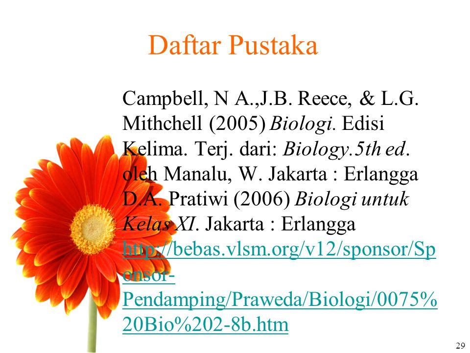Daftar Pustaka Campbell, N A.,J.B. Reece, & L.G. Mithchell (2005) Biologi. Edisi Kelima. Terj. dari: Biology.5th ed. oleh Manalu, W. Jakarta : Erlangg