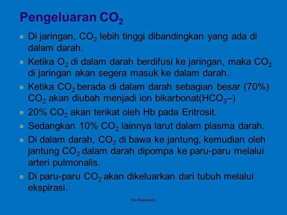 Pengeluaran CO 2 Di jaringan, CO 2 lebih tinggi dibandingkan yang ada di dalam darah. Ketika O 2 di dalam darah berdifusi ke jaringan, maka CO 2 di ja