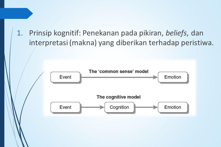 1.Prinsip kognitif: Penekanan pada pikiran, beliefs, dan interpretasi (makna) yang diberikan terhadap peristiwa.