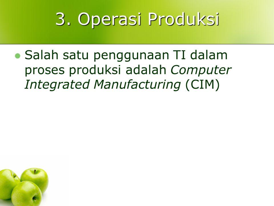 3. Operasi Produksi Salah satu penggunaan TI dalam proses produksi adalah Computer Integrated Manufacturing (CIM)