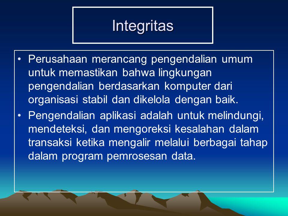 Integritas Perusahaan merancang pengendalian umum untuk memastikan bahwa lingkungan pengendalian berdasarkan komputer dari organisasi stabil dan dikelola dengan baik.