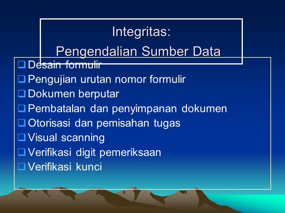 Integritas: Pengendalian Sumber Data  Desain formulir  Pengujian urutan nomor formulir  Dokumen berputar  Pembatalan dan penyimpanan dokumen  Otorisasi dan pemisahan tugas  Visual scanning  Verifikasi digit pemeriksaan  Verifikasi kunci