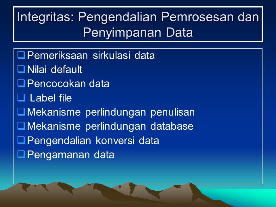 Integritas: Pengendalian Pemrosesan dan Penyimpanan Data  Pemeriksaan sirkulasi data  Nilai default  Pencocokan data  Label file  Mekanisme perlindungan penulisan  Mekanisme perlindungan database  Pengendalian konversi data  Pengamanan data