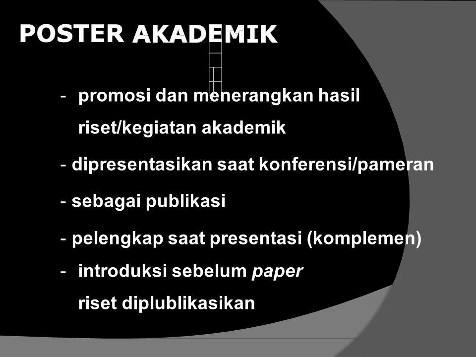 -promosi dan menerangkan hasil riset/kegiatan akademik -dipresentasikan saat konferensi/pameran -sebagai publikasi -pelengkap saat presentasi (komplem
