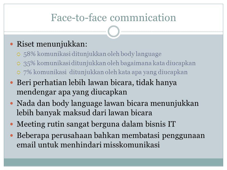 Face-to-face commnication Riset menunjukkan:  58% komunikasi ditunjukkan oleh body language  35% komunikasi ditunjukkan oleh bagaimana kata diucapka