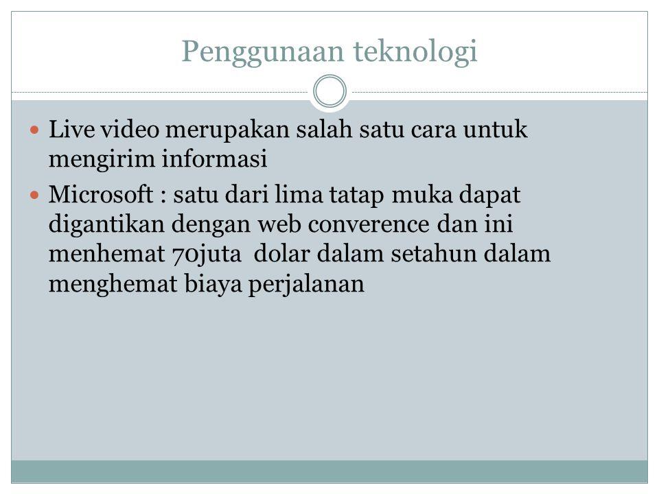 Penggunaan teknologi Live video merupakan salah satu cara untuk mengirim informasi Microsoft : satu dari lima tatap muka dapat digantikan dengan web c