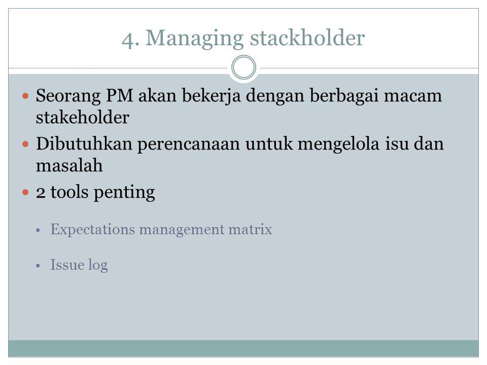 4. Managing stackholder Seorang PM akan bekerja dengan berbagai macam stakeholder Dibutuhkan perencanaan untuk mengelola isu dan masalah 2 tools penti